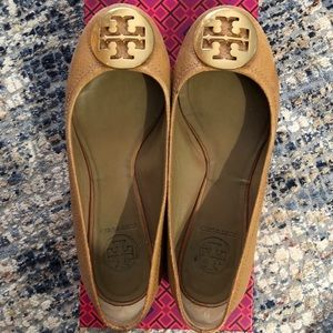 Tory Burch Ballet Flats Chestnut Leather/Gold 6.5